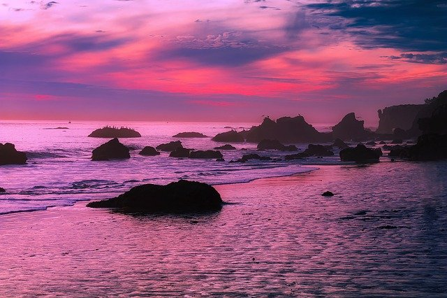 Malibu, California, Sunset, Dusk, Sky, Clouds