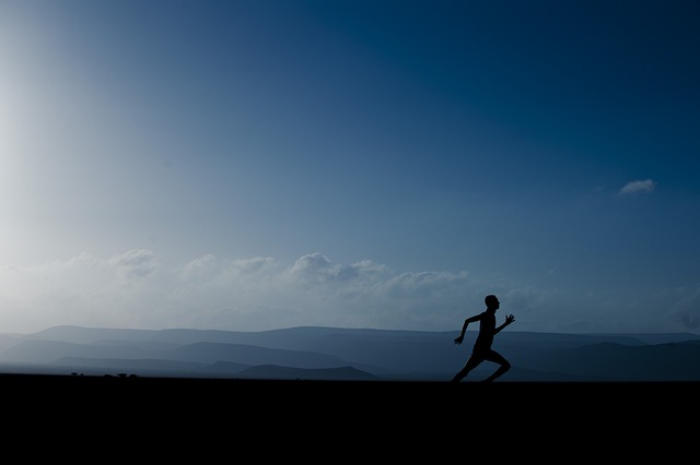 Landscape, Mountains, Sky, Clouds, Man, Running