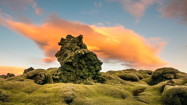 Clouds, Moss, Nature, Rock, Sky