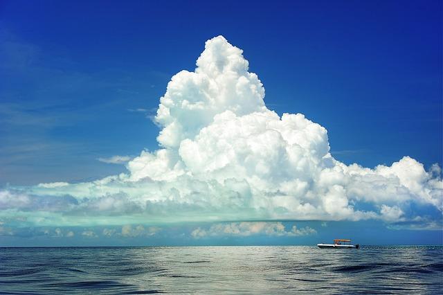 Sea, Cumulus Cloud, Boat, Clouds, Marine, Ocean, Sky