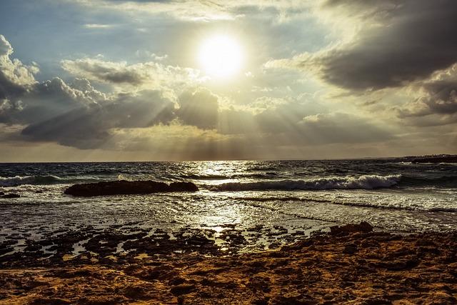 Sunset, Sun, Sunshine, Sunbeam, Light, Sky, Clouds, Sea