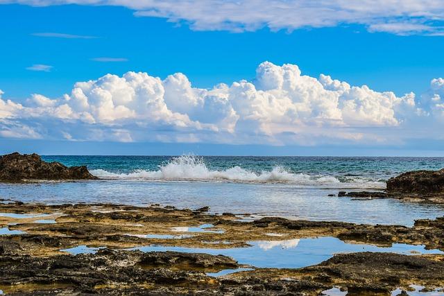 Rocky Coast, Wave, Sky, Clouds, Nature, Reflection