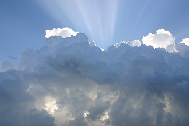 Clouds, Sky, Atmosphere, Sunrays, Sunlight, Cloudy
