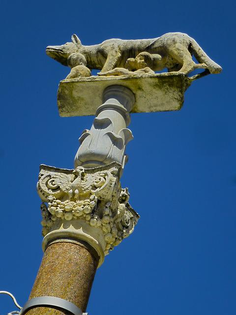 Italy, She-wolf, Romulus And Remus, Sky, Column