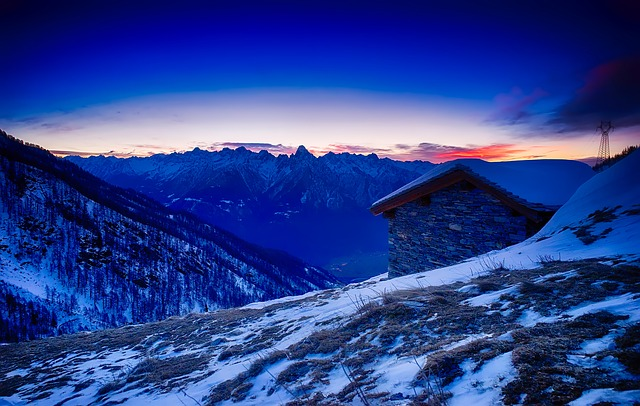 Italy, Mountains, Sunset, Snow, Winter, Cottage, Sky