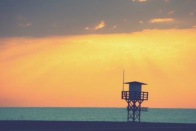 Landscape, Dawn, Beach, Tower Surveillance, Sky, Clouds