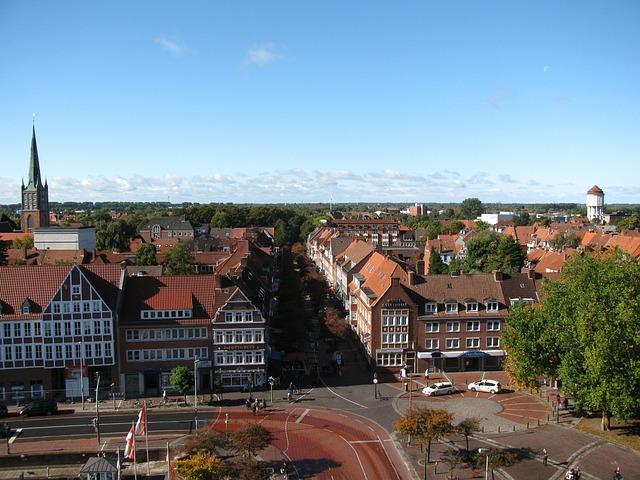 Emden, Germany, Sky, Clouds, Buildings, Street, Traffic