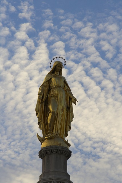 Sky, Clouds, Evening, Statue Of Mary
