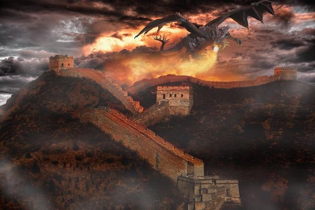 Fantasy, Wall, Dragon, Fire, Sky, Clouds