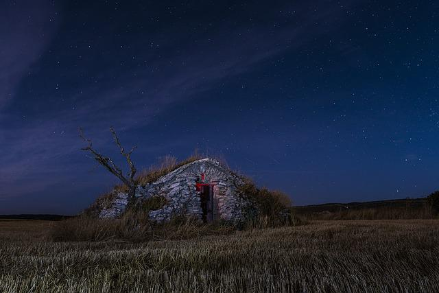 Cabin, Night, Star, Sky, Firmament, Light, Landscape