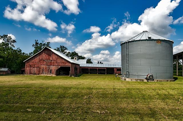 Iowa, Landscape, Barn, Silo, Storage, Bin, Grain, Sky