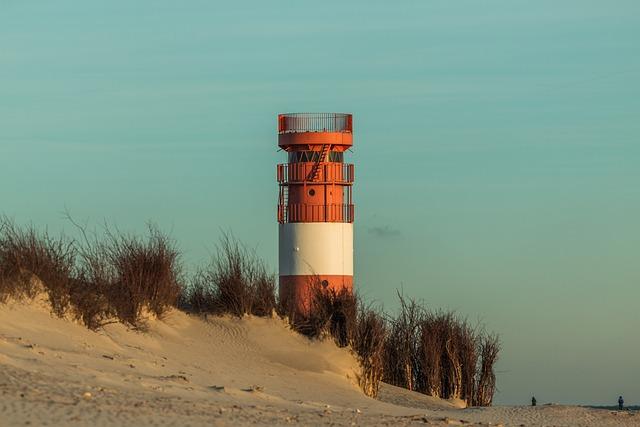 Lighthouse, Helgoland, Dune, Beach, Sea, Sky
