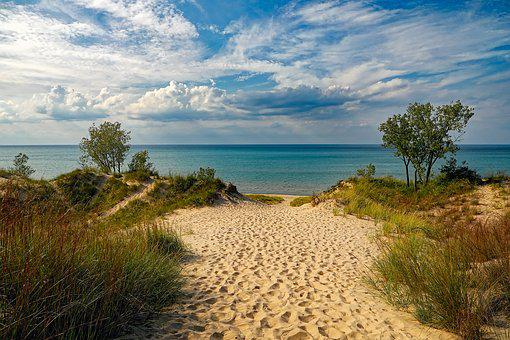 Indiana Dunes State Park, Beach, Lake Michigan, Sky