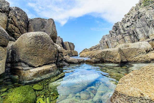 Sea, Rock, Sky, Water, Japan, Japan Sea, Haru No Umi