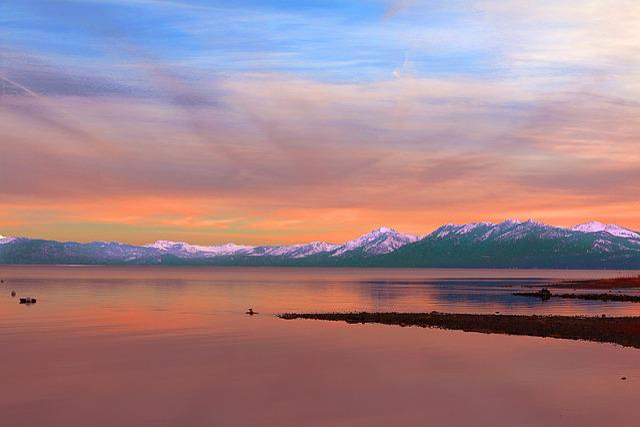 Sunset, Waters, Dawn, Sky, Twilight, Lake Tahoe