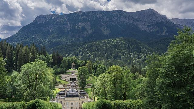 Linderhof Palace, Landscape, Mountains, Sky, Castle