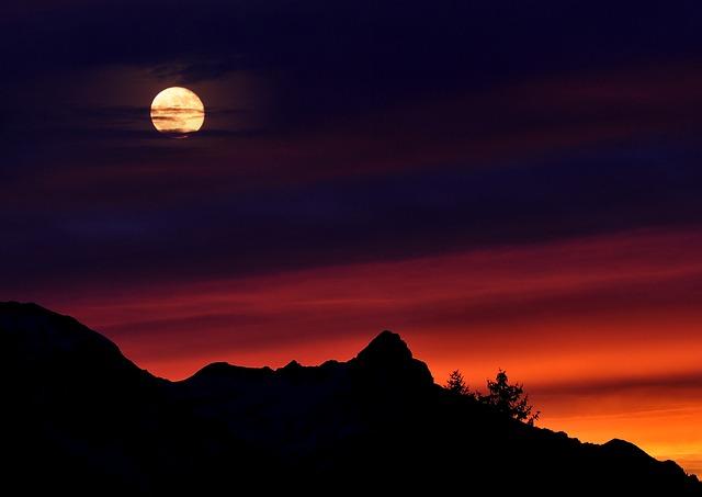 Mountains, Mountain Peaks, Sky, Sunrise, Moon, Lighting