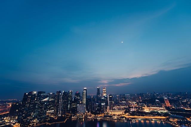 Night, Dark, Blue, Sky, City, Lights, Buildings