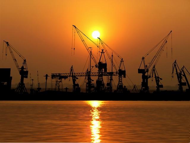Sunset, Port, Cranes, Industries, Logistics, Water, Sky