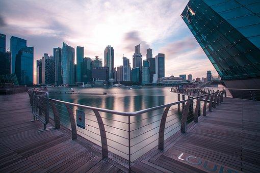 Cbd, Marinarea, Singapore, Building, Sky, Long Exposure