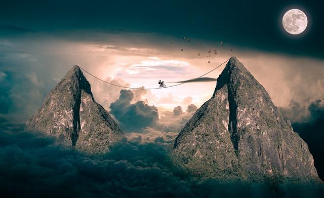 Clouds, Mountains, Sky, Blue Sky, Moon, Fantasy