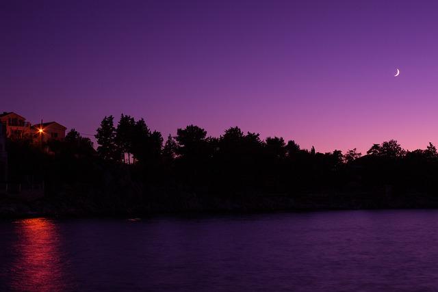 Night-sky, Moon, Sea, Night, Violett, Crescent, Sky