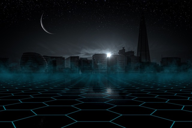 Skyline Night, Star, Sky, Moon, Sickle, Skyscraper