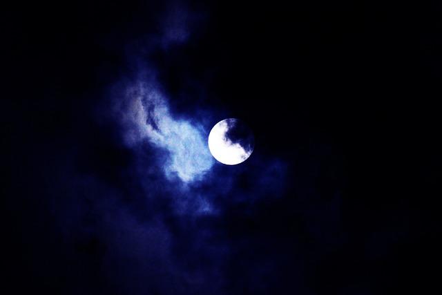 Moon, Sky, Night, Supermoon, Nature, Blue, Contrast