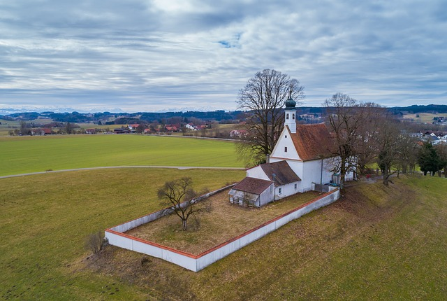Church, Grass, Sky, Landscape, Tree, Nature