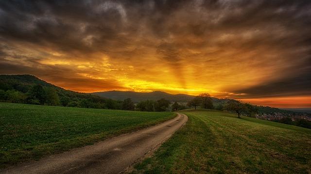 Nature, Sunset, Sky, Landscape, Panorama, Rural, Road
