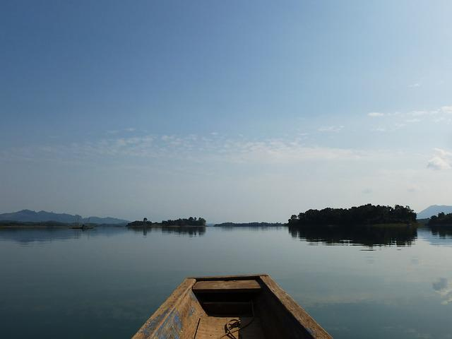 Laos, Lake, Water, Ship, Nature, Mood, Rest, Sky