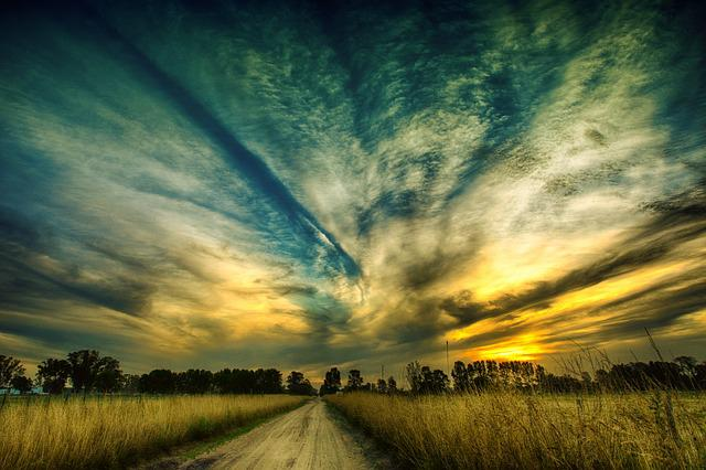 Nature, Sky, Landscape, Outdoors, Cloud, Path, Sunset