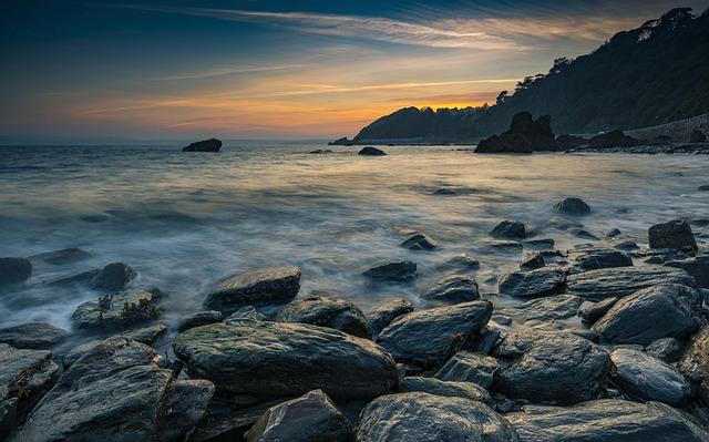 Sunset, Beach, Rocks, Ocean, Water, Sky, Dusk, Nature