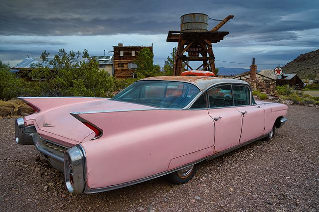 Cadillac, Nevada, Pink, Clouds, Oldtimer, Old, Sky