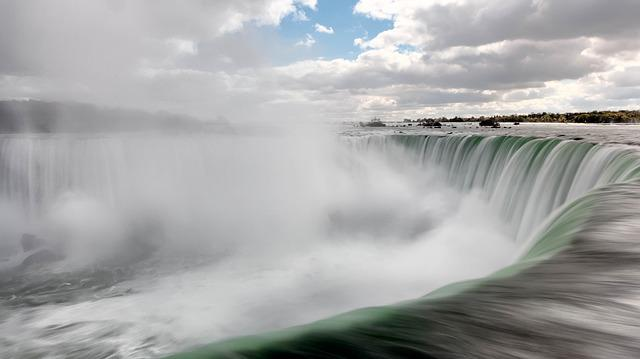 Clouds, Landscape, Niagara Falls, Rocks, Sky, Splash