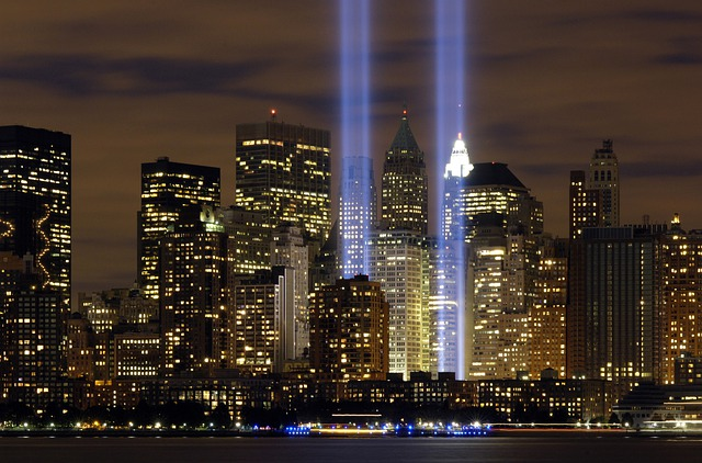 New York City, Tribute In Lights, Sky, Clouds, Night