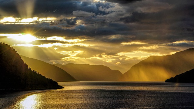 Fjord, Norway, Sea, Sky, Clouds, Nature, Panorama