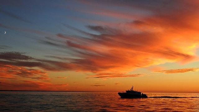 Clouds, Sunset, Riga, Latvia, Ship, Orange, Sea, Sky