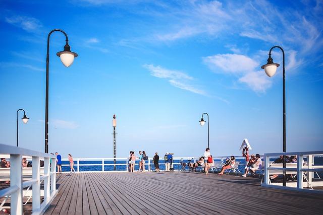 People, Pier, Molo, Sky, Blue, Streetlights, Clouds