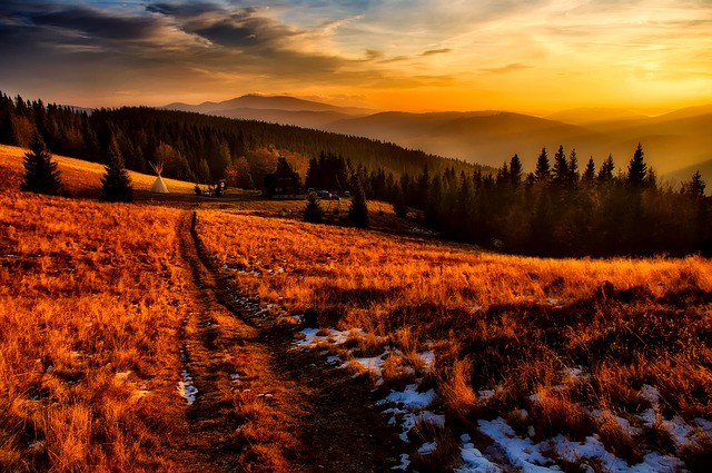 Poland, Mountains, Sky, Clouds, Sunset, Dusk, Landscape