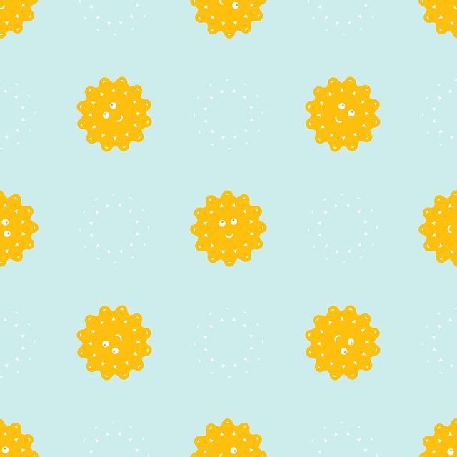 Sun, Rays, Sky, Summer, Seamless Pattern