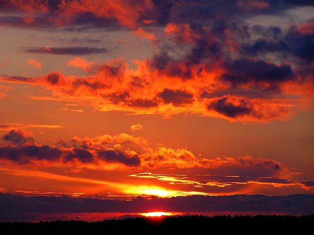 Sunset, Summer, Clouds, Sky, Red, Orange, Twilight