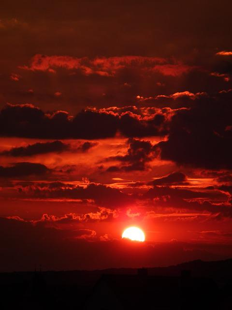 Sun, Clouds, Sky, Red, Evening, Abendstimmung, Sunset