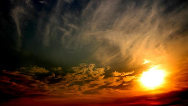 Sun, Sunset, Sky, Cloud, Red