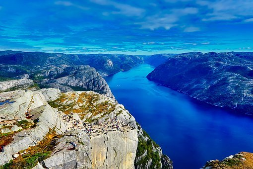 Norway, Fjord, River, Water, Mountains, Sky, Clouds