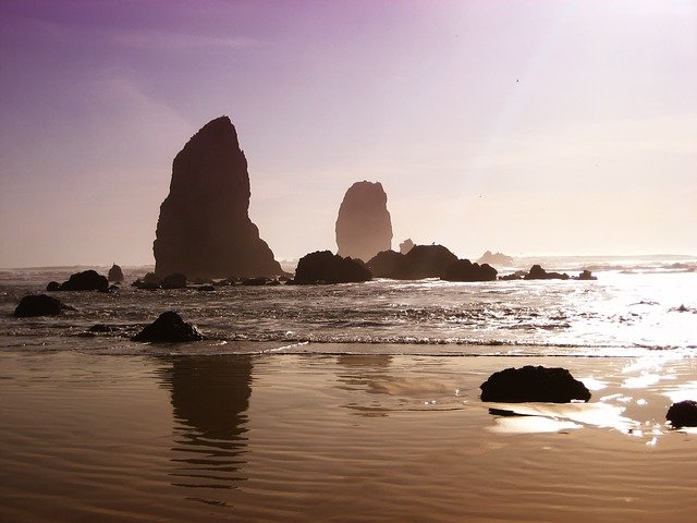 Oregon, Beach Sand, Rocks, Formations, Sky, Sea, Ocean