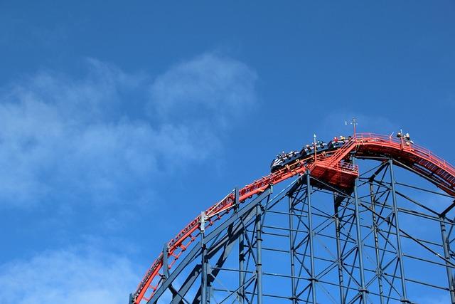 Blackpool, Roller Coaster, Sky, Blue, Adrenaline