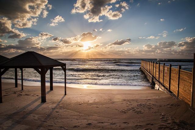 Beach, Tel-aviv, Scene, Sundown, Israel, Sky, Aviv, Tel