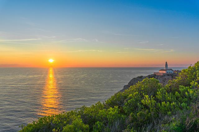 Mallorca, Sea, Sunrise, Water, Rock, Lighthouse, Sky