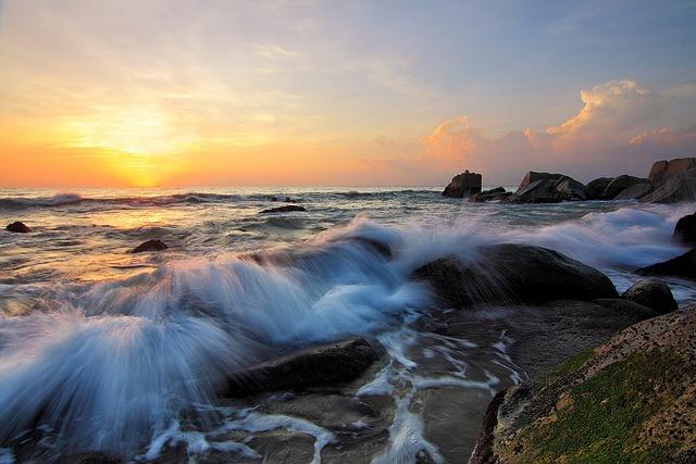 Waves, Rocks, Sunset, Sky, Ocean Waves, Sea, Seascape